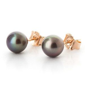 14K GOLD STUD EARRINGS WITH NATURAL BLACK PEARL